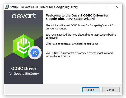 Devart ODBC Driver for Google BigQuery full screenshot
