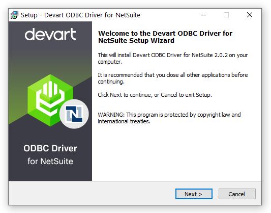 Devart ODBC Driver for NetSuite full screenshot