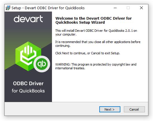 Devart ODBC Driver for QuickBooks full screenshot