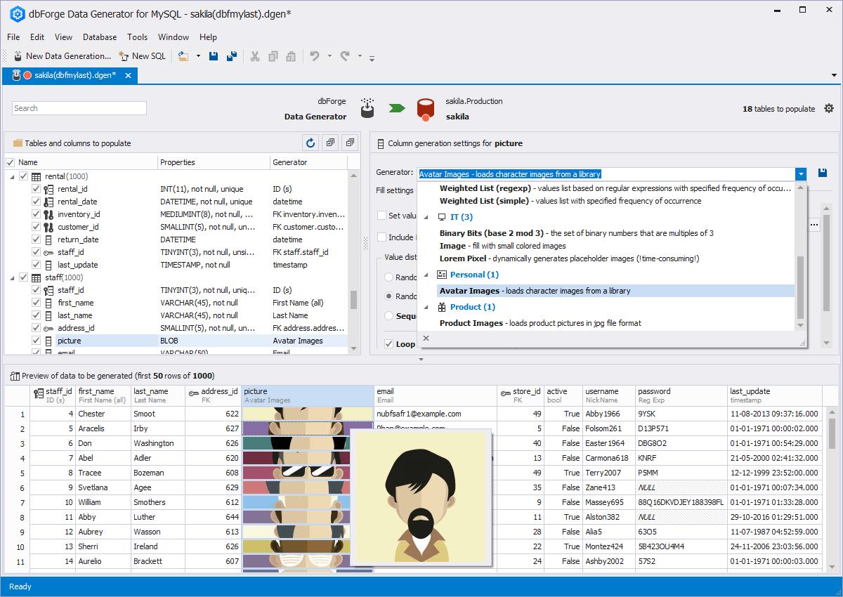 dbForge Data Generator for MySQL full screenshot