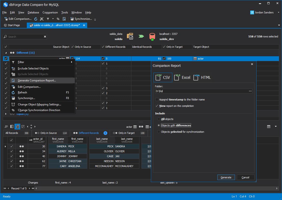 dbForge Data Compare for MySQL full screenshot