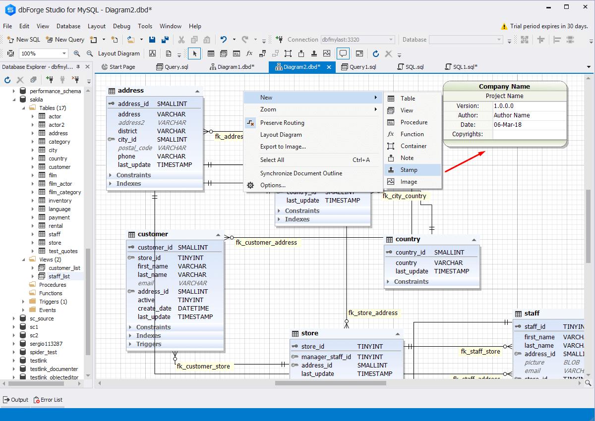 Visual Database Designer for MySQL