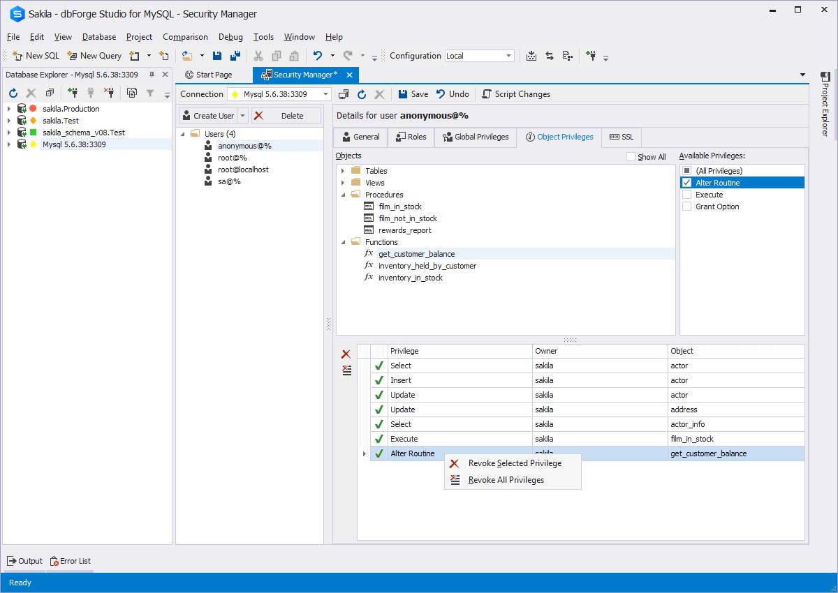 Mysql admin - Server Configuration