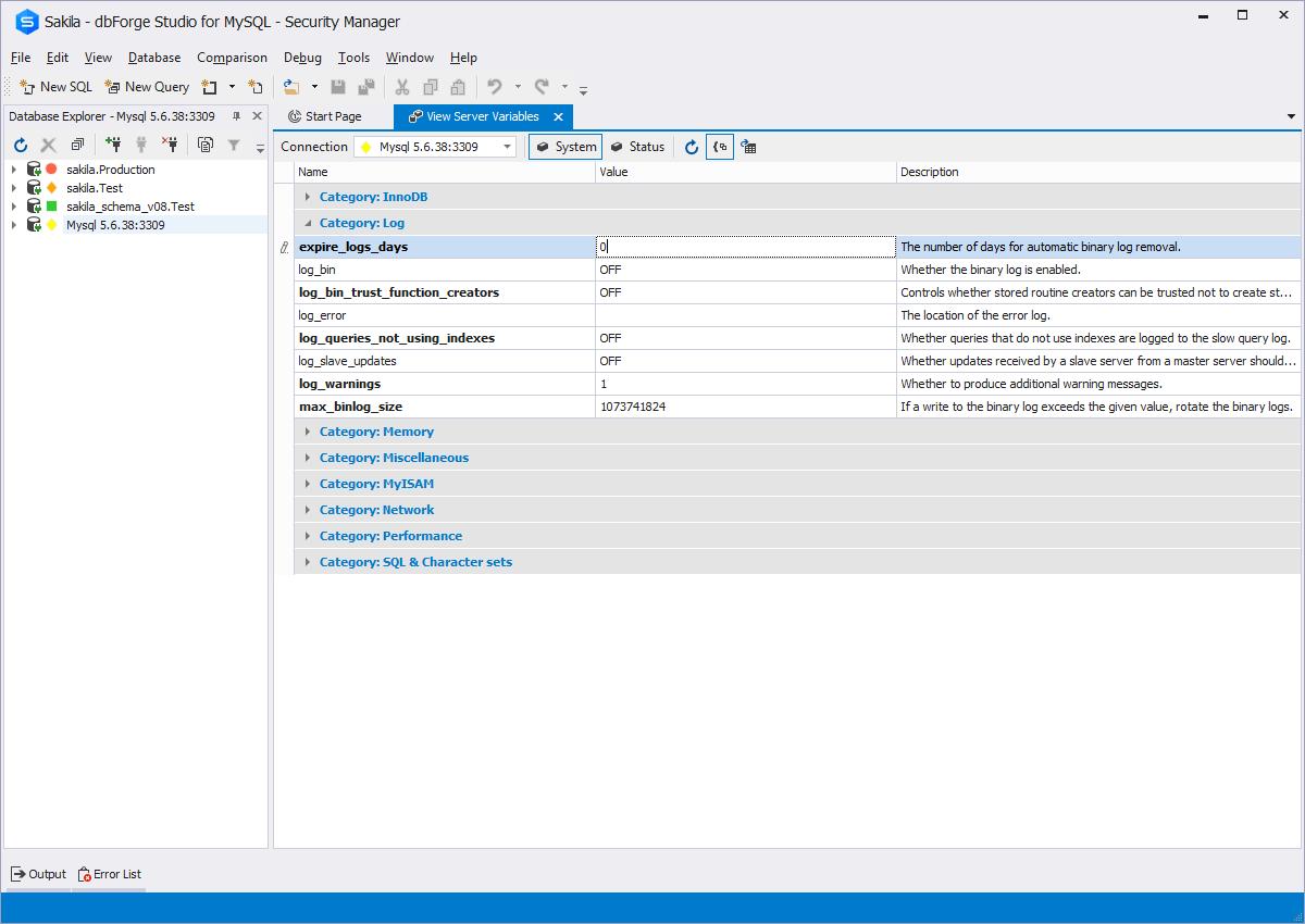 Mysql admin - Service Control