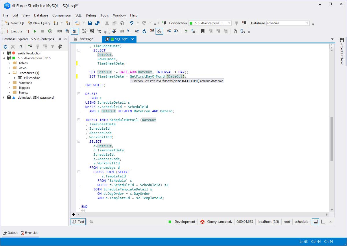 SQL Editor in dbForge Studio for MySQL