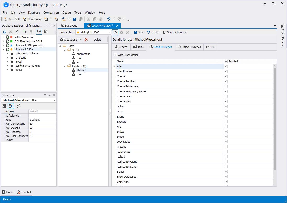 dbForge Studio for MySQL入门教程:安全管理器-完全控制MySQL用户及其特权