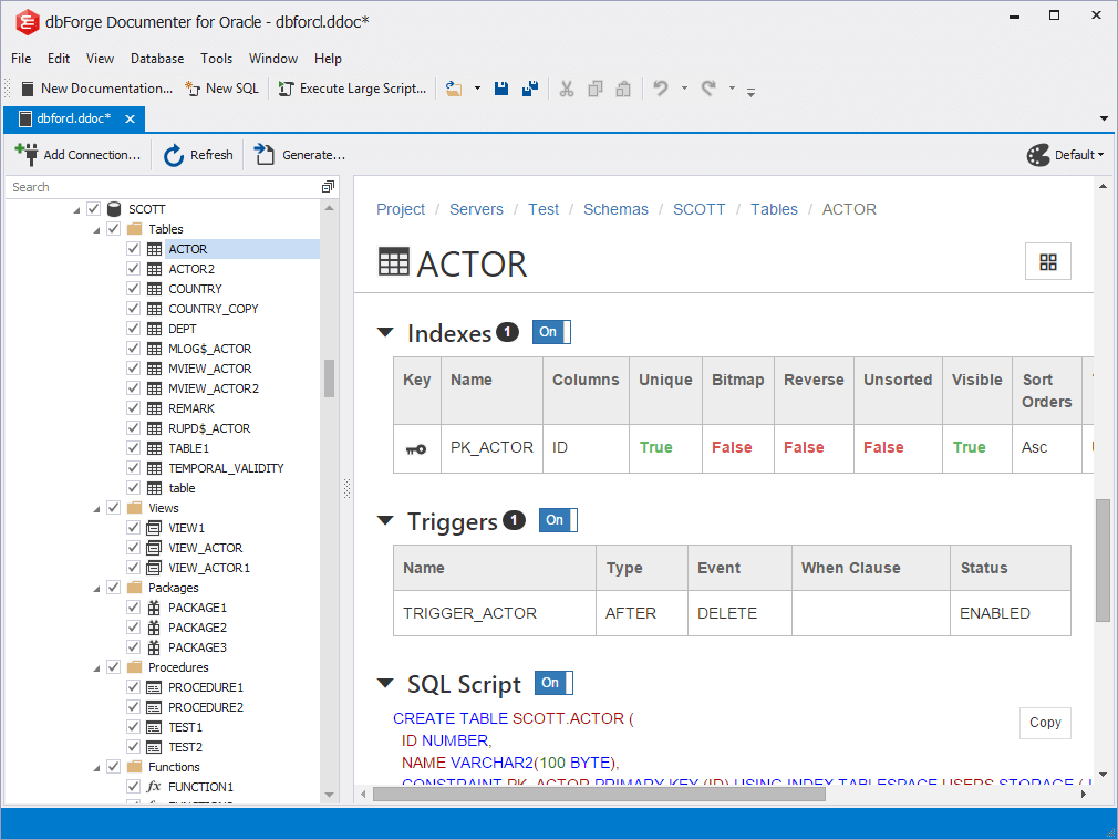 dbForge Documenter for Oracle full screenshot