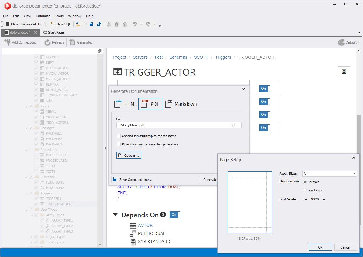 Oracle Documentation Generator | dbForge Documenter