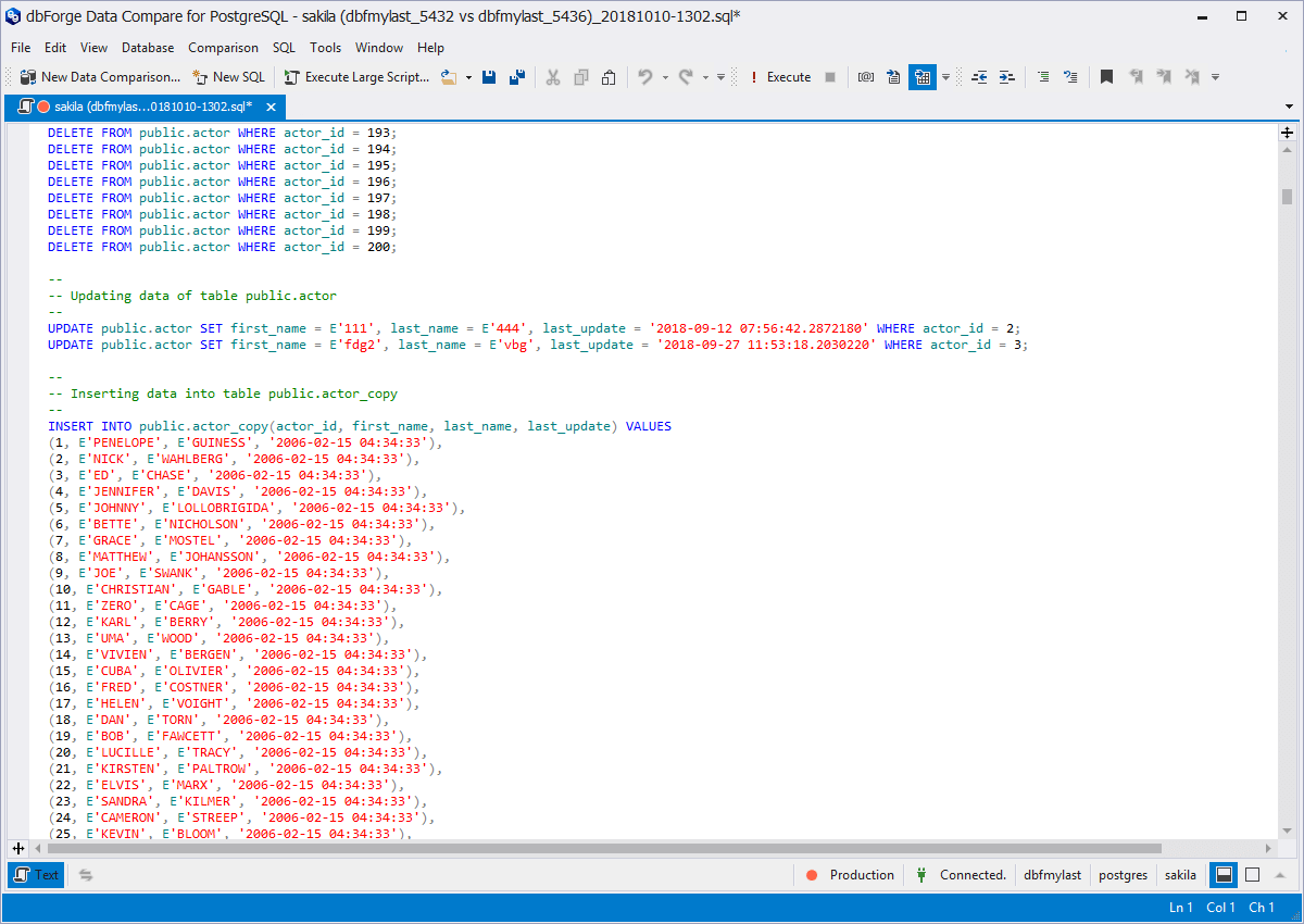 PostgreSQL Data Comparison and Synchronization Tool