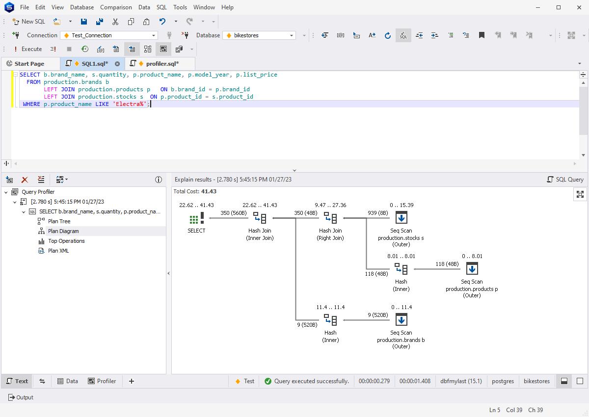 Profiling queries with dbForge PostgreSQL IDE
