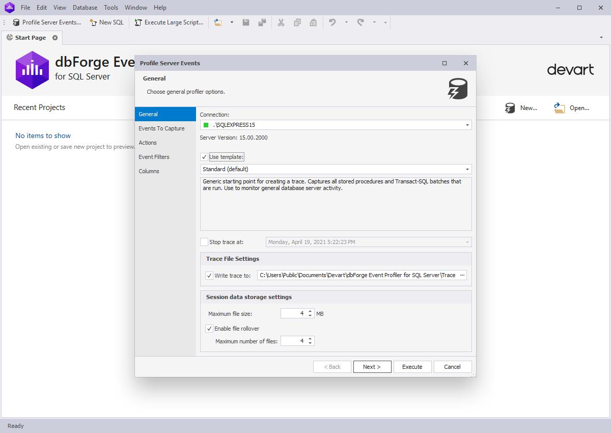 dbForge Event Profiler for SQL Server full screenshot