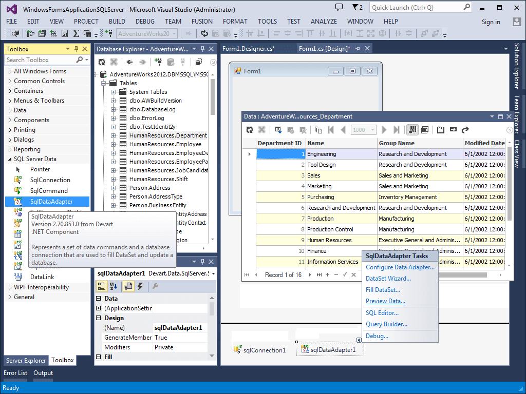 Integration with Devart dotConnect for SQL Server