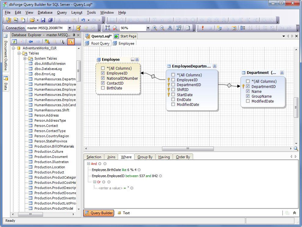 dbForge Query Builder for SQL Server full screenshot