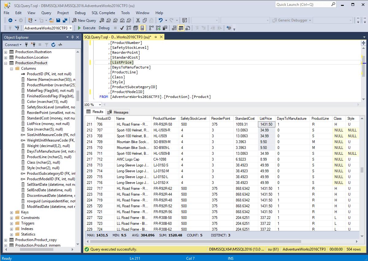 SQL code complete