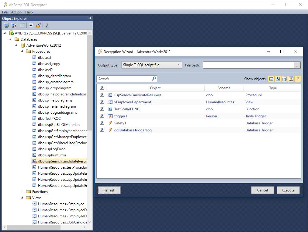dbForge SQL Decryptor - Decrypt SQL Server database objects