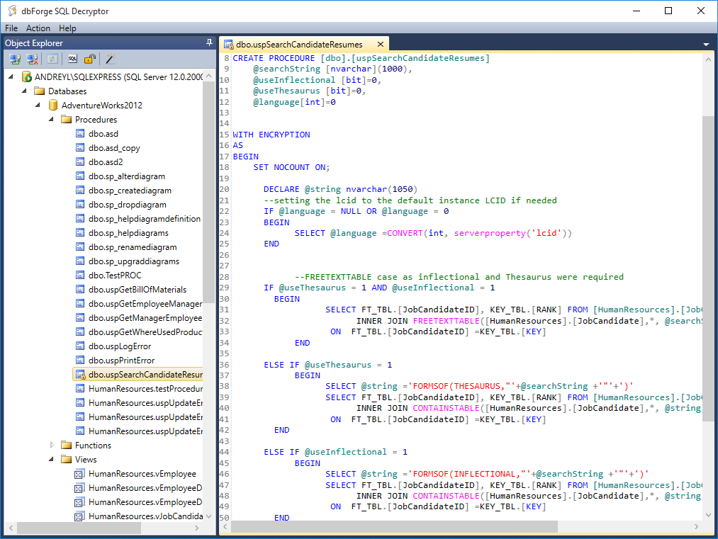 dbforge sql decryptor decrypt sql server database objects