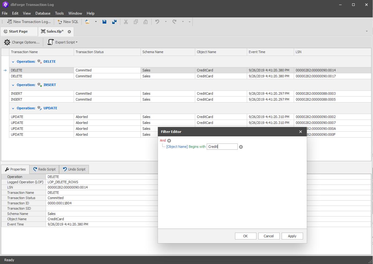 dbForge Transaction Log for SQL Server full screenshot