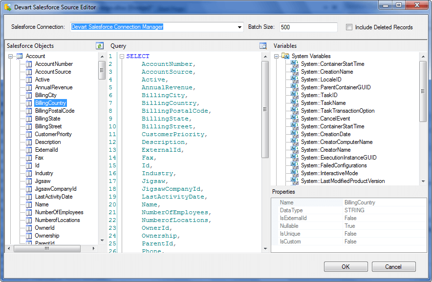 SSIS Data Flow Components in dotConnect for Salesforce