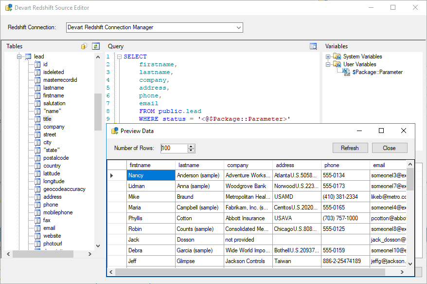 Amazon Redshift SSIS Data Flow Components - Devart